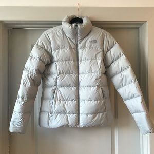 EUC North Face Puffer Down Coat Nuptse Gray S